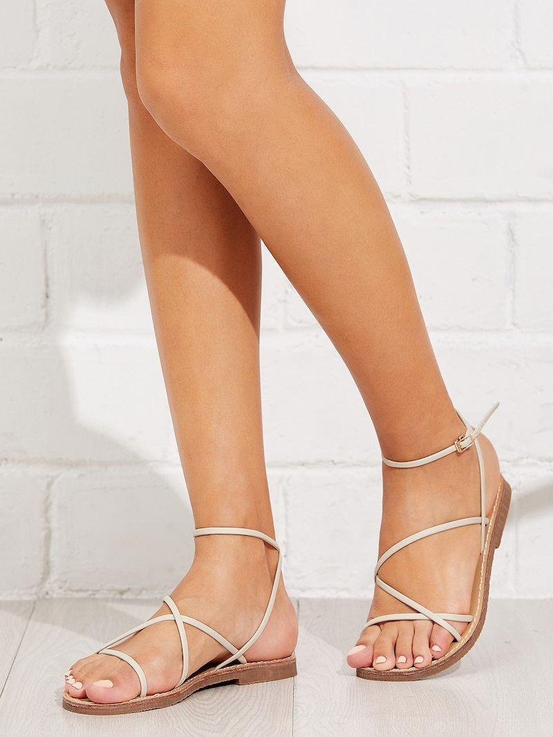 Skinny Strap Flat Sandals Pretty Sandals Strappy Sandals Flat Cute Shoes Flats [ 1066 x 800 Pixel ]