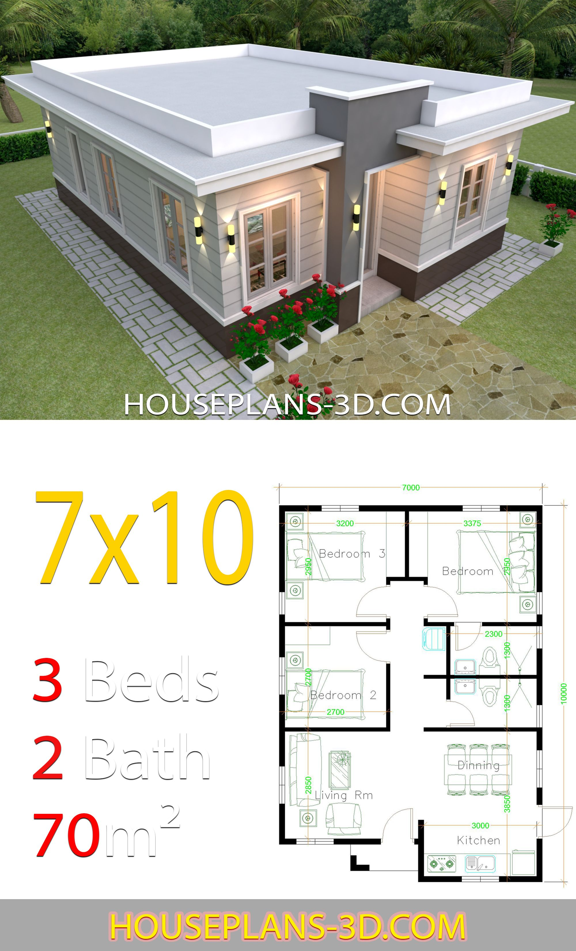 House Design 7x10 With 3 Bedrooms Terrace Roof Architectural House Plans Simple House Design Three Bedroom House Plan