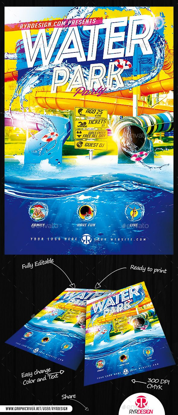 Water Park Flyer Psd Fonts Logos Icons Pinterest Water Parks
