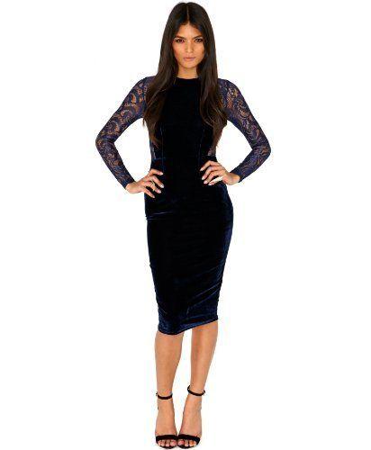 891e1e4ae0 made2envy Velvet Lace Long Sleeve Midi Dress M