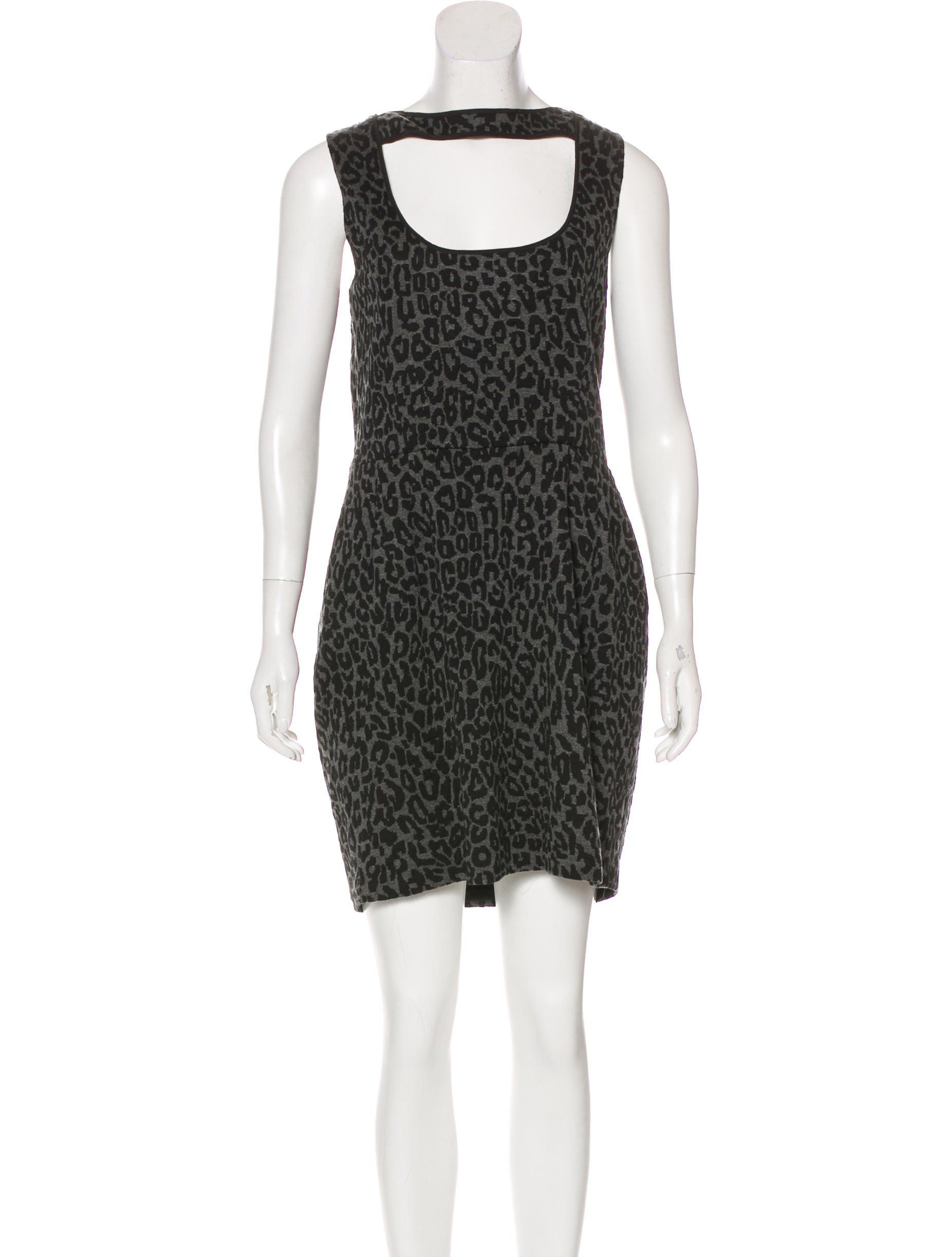 4f6706e708ee Grey and black Timo Weiland sleeveless mini dress featuring abstract  pattern throughout, leather trim, lace panels at bust, vent at back and  concealed zip ...