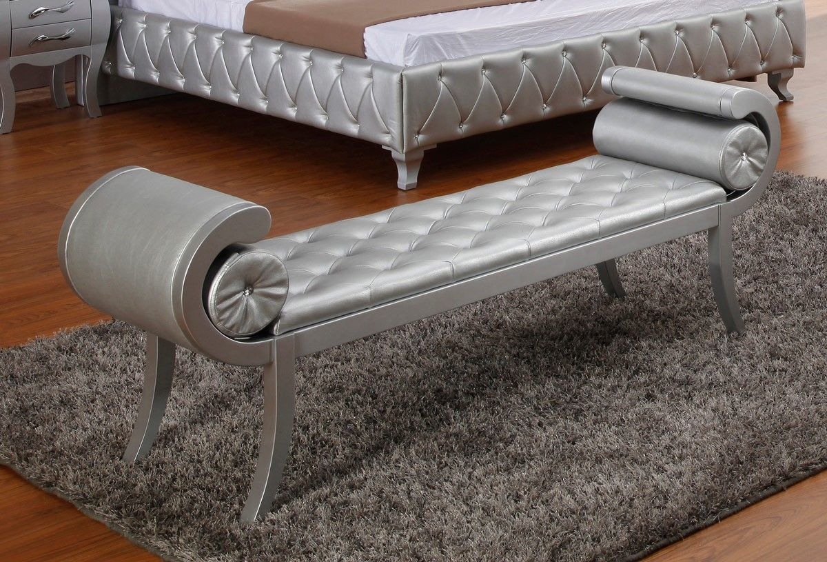 Vig Furniture Monte Carlo Platinum Leatherette Bench Vgkcmonte Plat