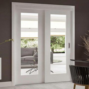 A free delivery is standard, these Easi-Slide oak veneered sliding doors incorporating a frame and track set with fixed side inset include clear safety glass, the opening door can slide left or right when positioned correctly, all would be supplied without decoration. #whitedoor #clearglassdoor