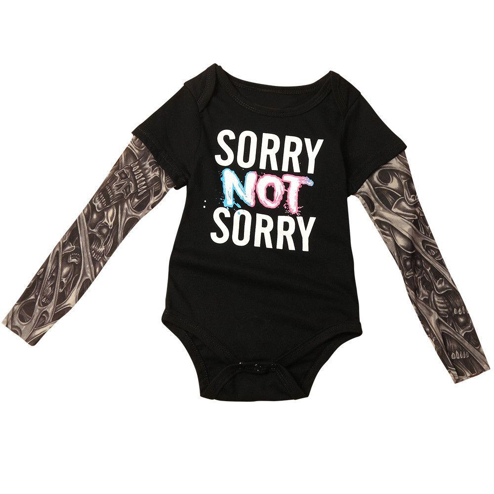 Infant Baby Boy Long Sleeve Tattoo Sleeve Print Letter Jumpsuit Romper Bodysuit
