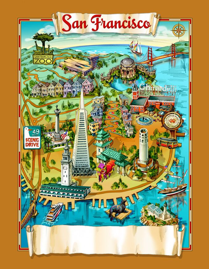 San Francisco attractions map Places I Have Been Pinterest San