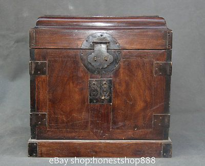 13 Old Chinese Wood Yellow Pear Huanghuali Handwork Jewellery Storage Bo