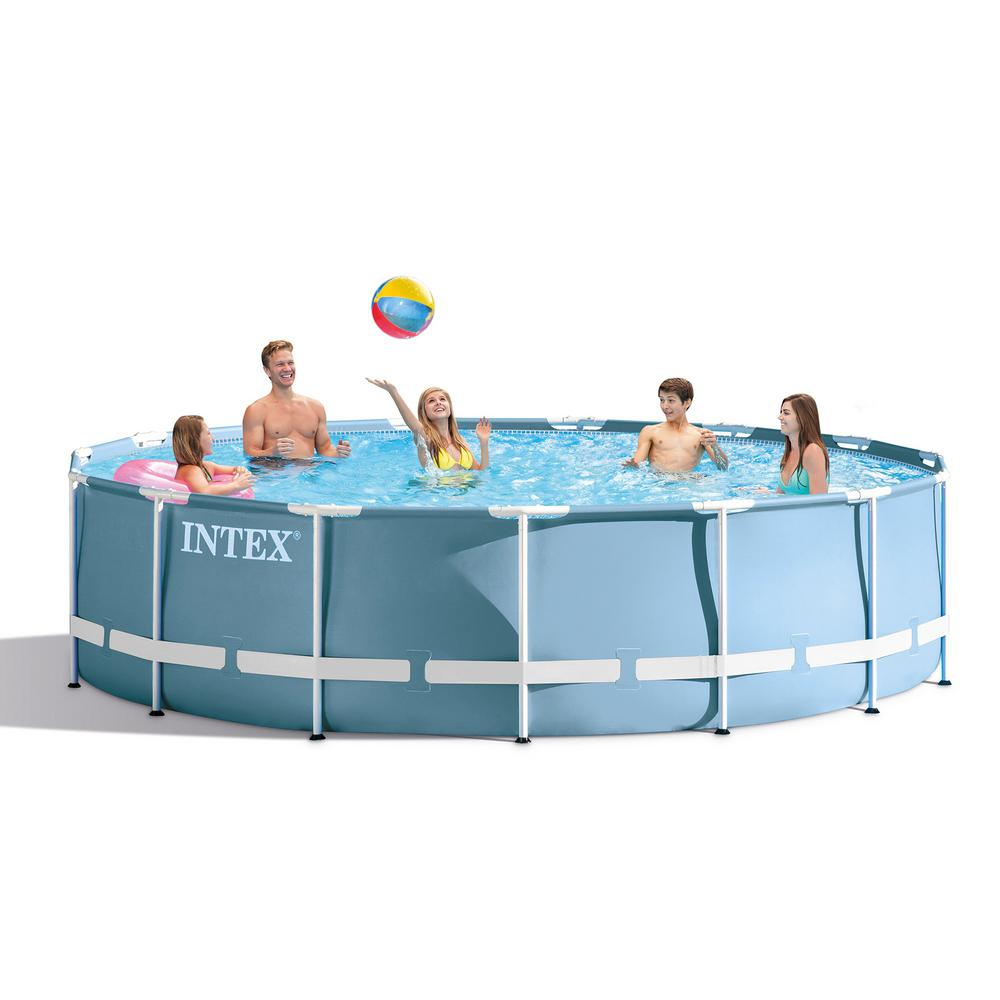 Intex 18 Ft X 48 In Prism Frame Swimming Pool Set Ladder Cover And Pump 26751eh The Home Depot Intex Best Above Ground Pool Backyard Pool Parties
