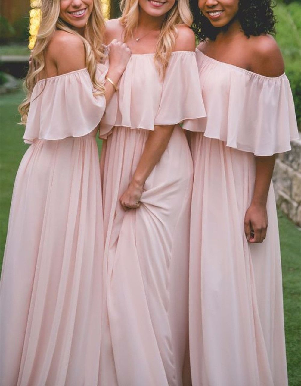 Off the shoulder pink chiffon bridesmaid dress from hot lady