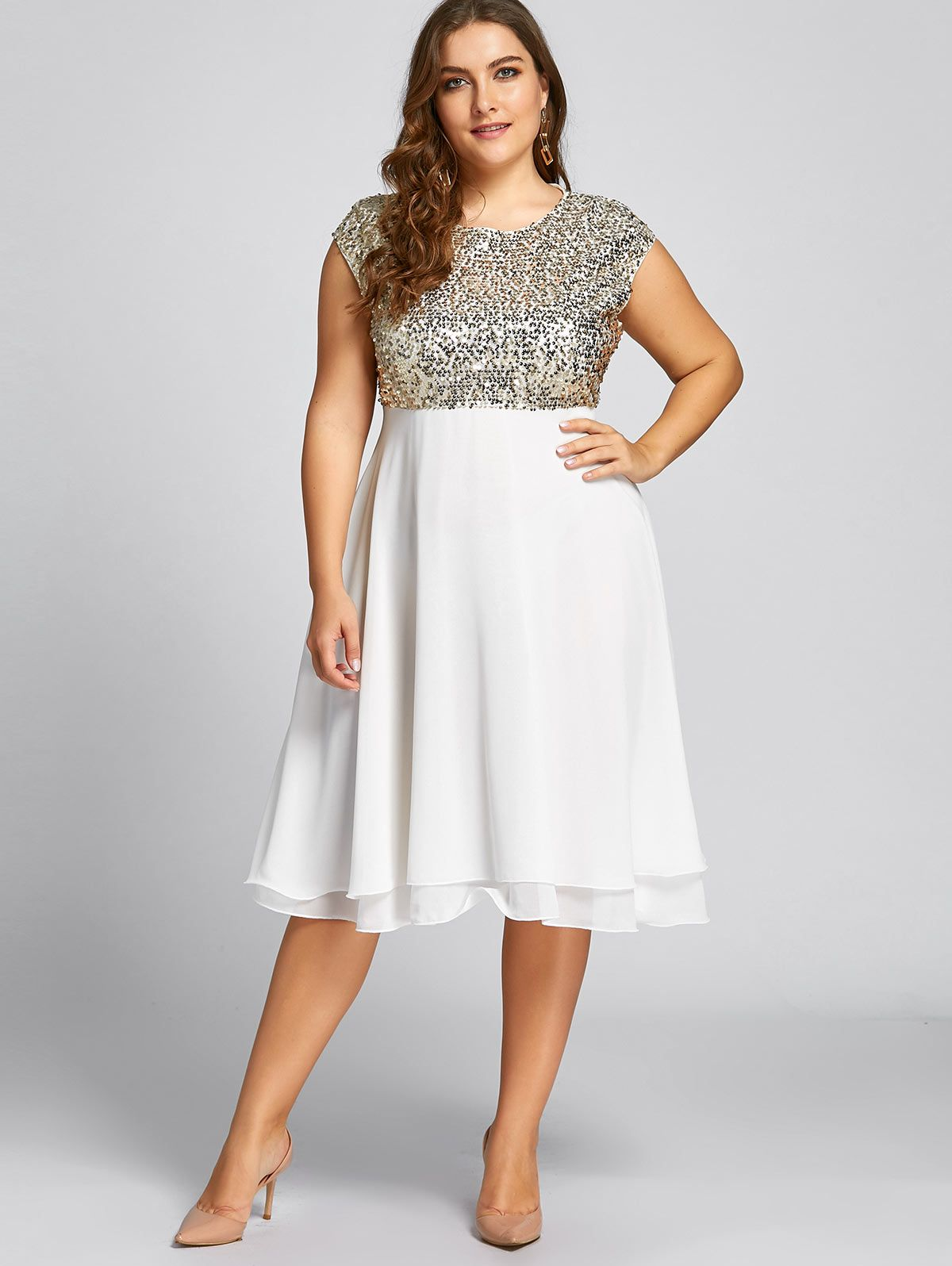 Gamiss Women Flounce Plus Size Dress Sequin Sparkly Dresses Cocktail Short  Sleeves Party Ball Gown Knee-Length Female Vestidos 88aee19cf7cb