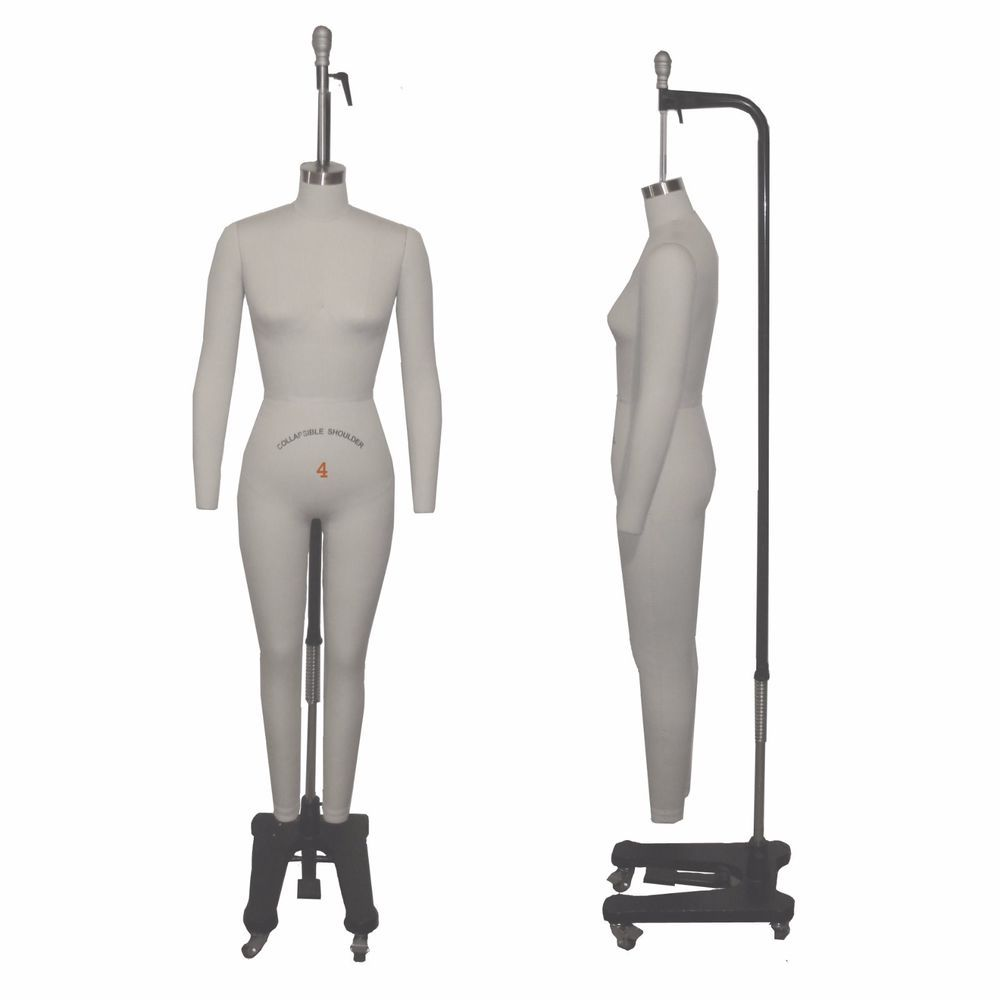 Full Body Professional Dress Forms Sewing Form Size 4 Collapsible Shoulders  Arms