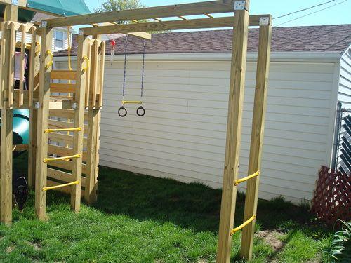 Easy And Inexpensive Monkey Bar Setup Diy Monkey Bars Swing And Slide Monkey Bars