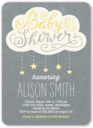 Baby Shower Invitation: Showering Stars Girl, Rounded Corners, Grey