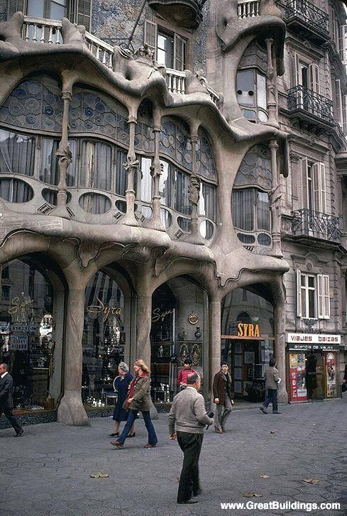 Casa Batllo, by Antoni Gaudi, at Barcelona, Spain, 1905 to 1907.