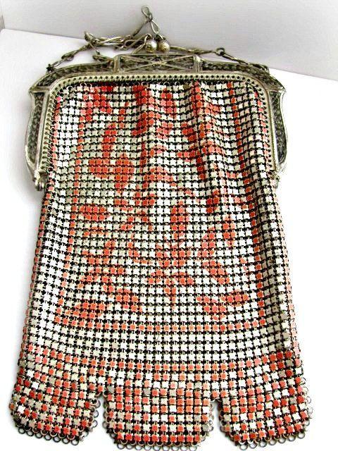 Whiting Davis Mesh Purse, Art Deco Design, Silver with Pink Coral Enameled Design, Vintage Flapper Bag