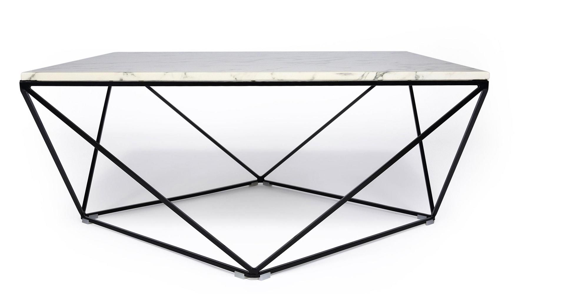 Table Salon Marbre Table Basse Design Façon Marbre Blanc Avec Piètement En Fer
