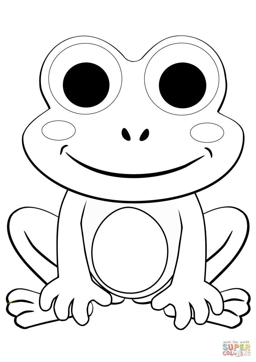 Frog Coloring Pages For Kids Frog Coloring Page Cute Cartoon Frog Coloring Page Free In 2020 Frog Coloring Pages Cartoon Coloring Pages Cute Coloring Pages