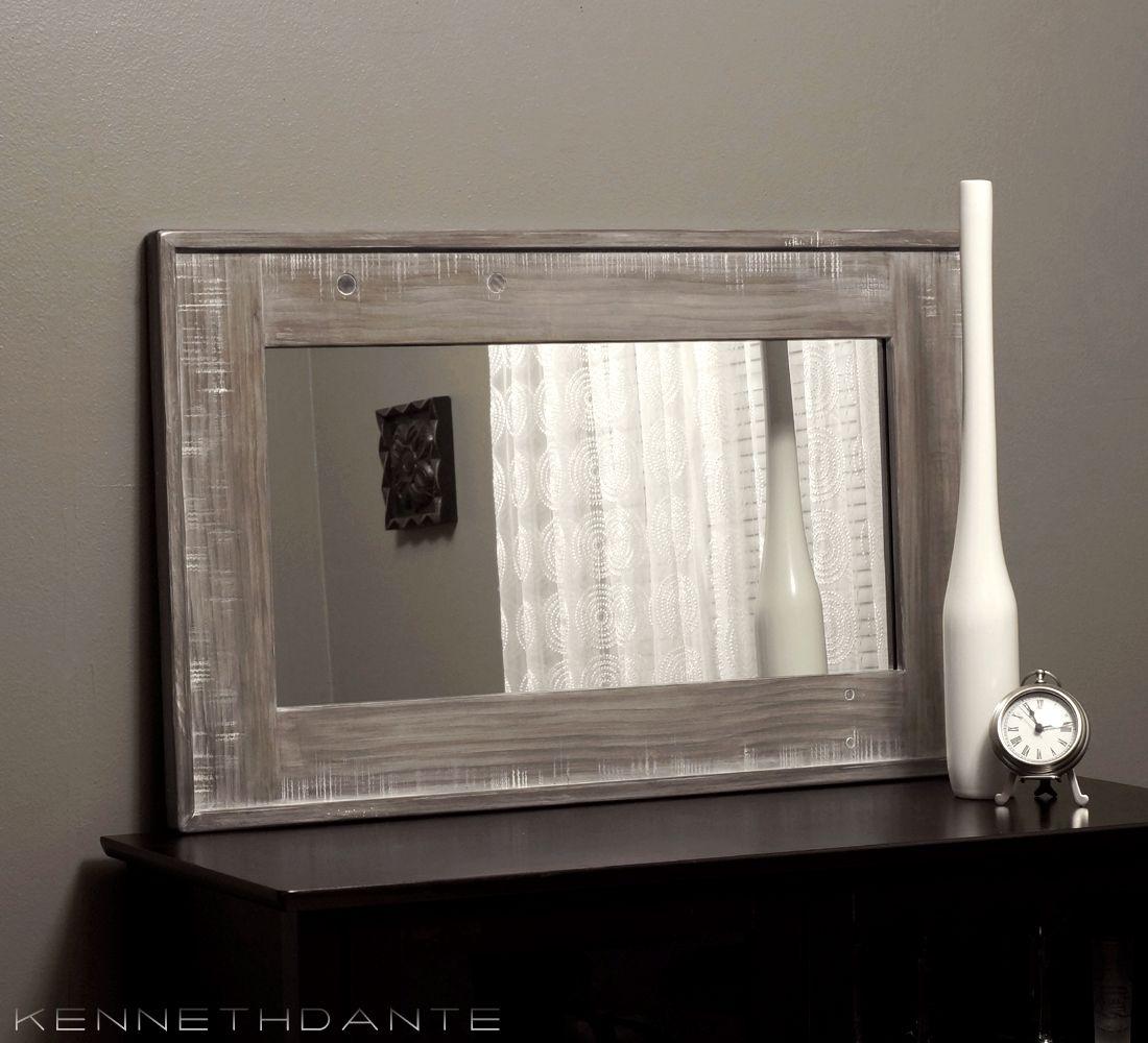 Farmhouse Mirror Whitewash Gray Modern