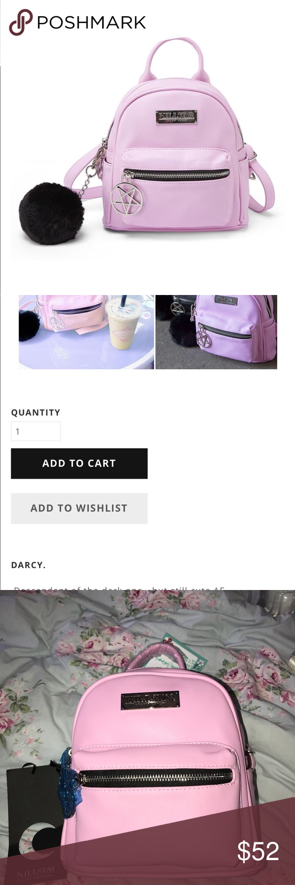 ea086aa7c Killstar Mini Darcy Backpack 💖 new! never used!💖 it's a lavender pinky  color killstar Bags Backpacks