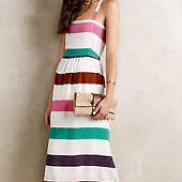 """NWT Anthropologie Corey Lynn Calter Dress Square neckline, Adjustable button straps, 100% viscose rayon, side elastic panels for additional stretch. White with pink, green, purple, and chocolate stripes. 42-45"""" in length depending on strap. Never worn. In great condition. Anthropologie Dresses Midi"""
