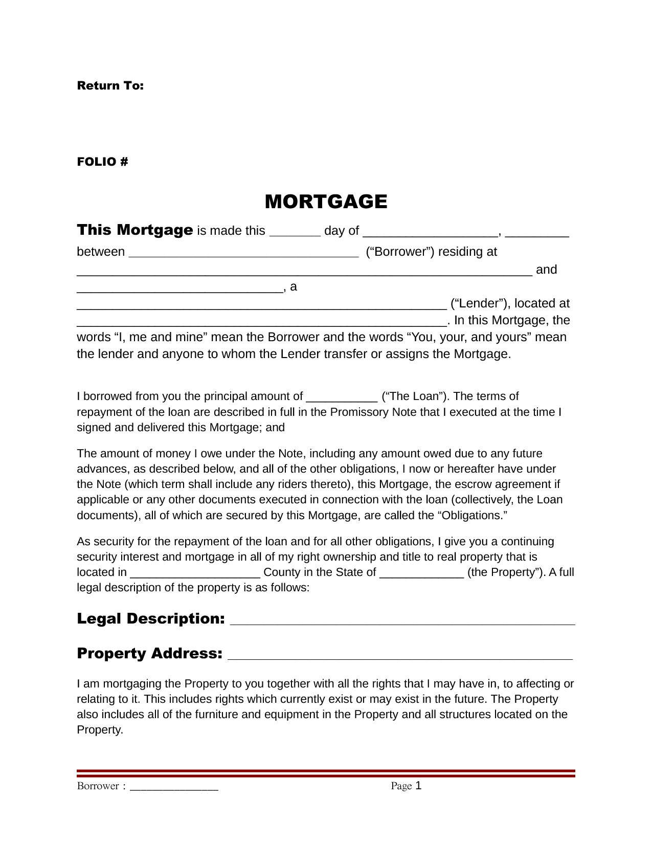 Mortgage deed 0 The borrowers, Real estate investing