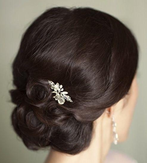 Wedding Hairstyles Brunette: Brunette Curly Chignon Updo