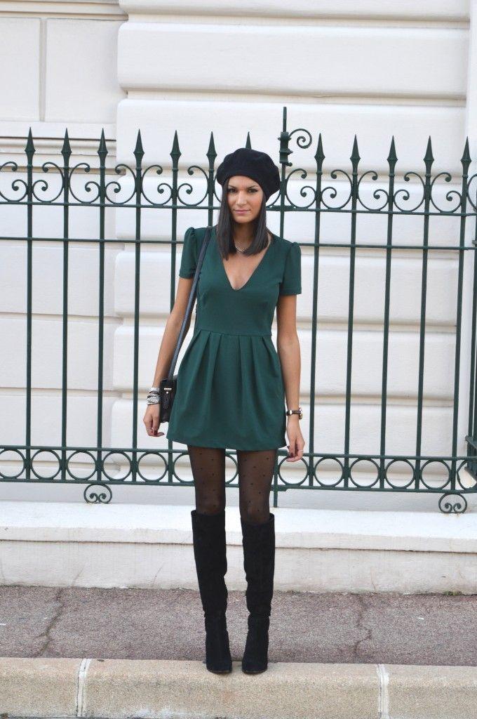 8a77a5cb3d6ab Combi short verte robe verte zara blog mode vetements pas cher bottes  cuissardes noires daim