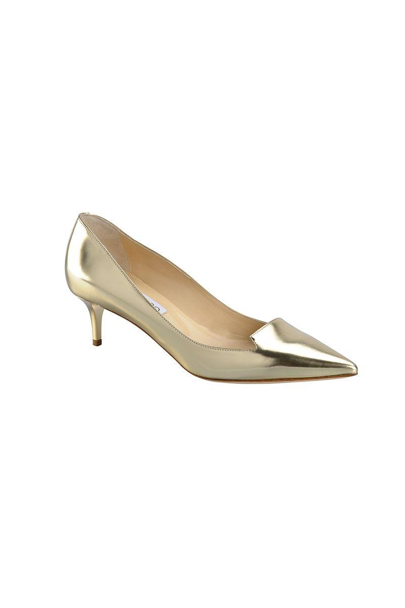 Zapato de punta dorado con medio tacón 73cbde5f9e37