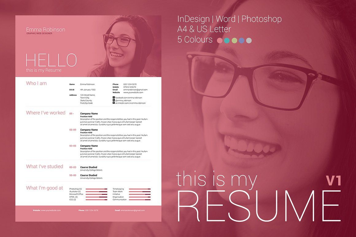 My Resume V  Resumes  Professional Resume Template Instant