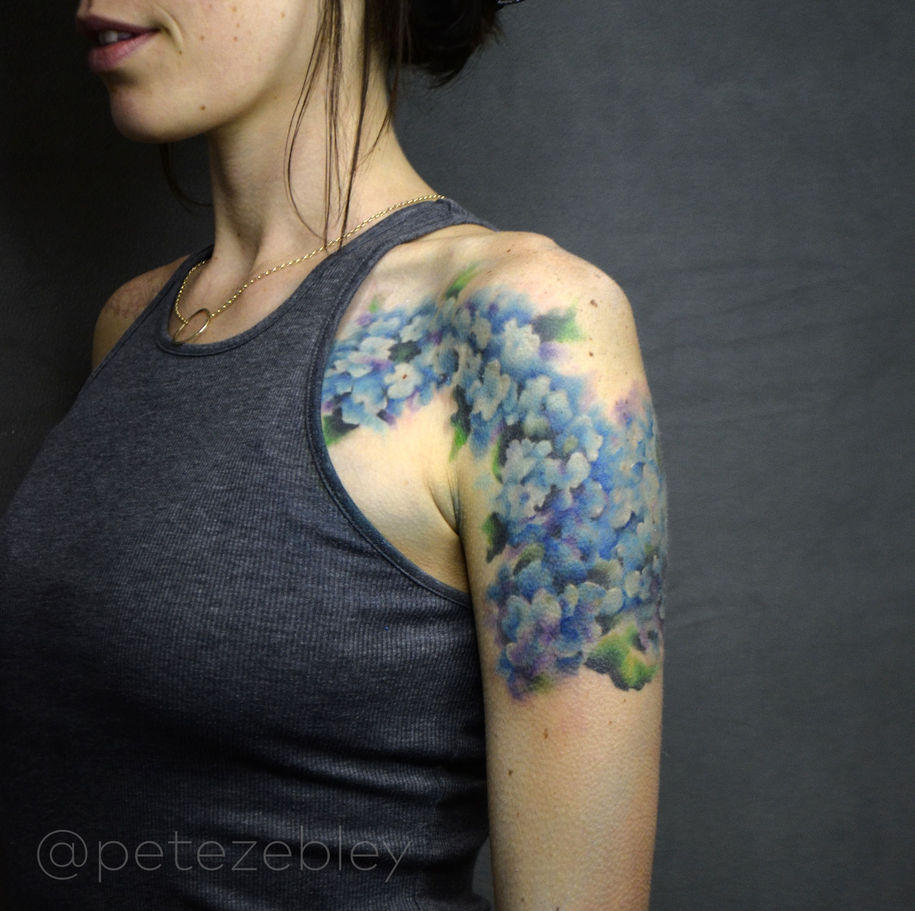 Hydrangea watercolor tattoo completed by pete zebley in