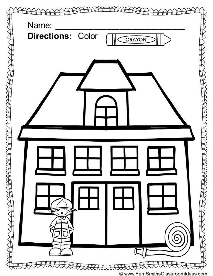 Fire safety coloring pages dollar deal 17 pages of fire for Fire station coloring page