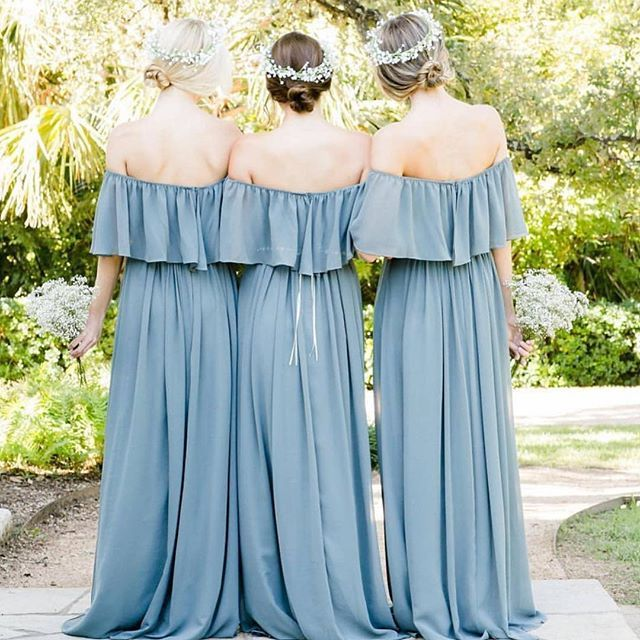 Dusty blue off the shoulder flutter sleeve bridesmaid dresses #bridesmaids