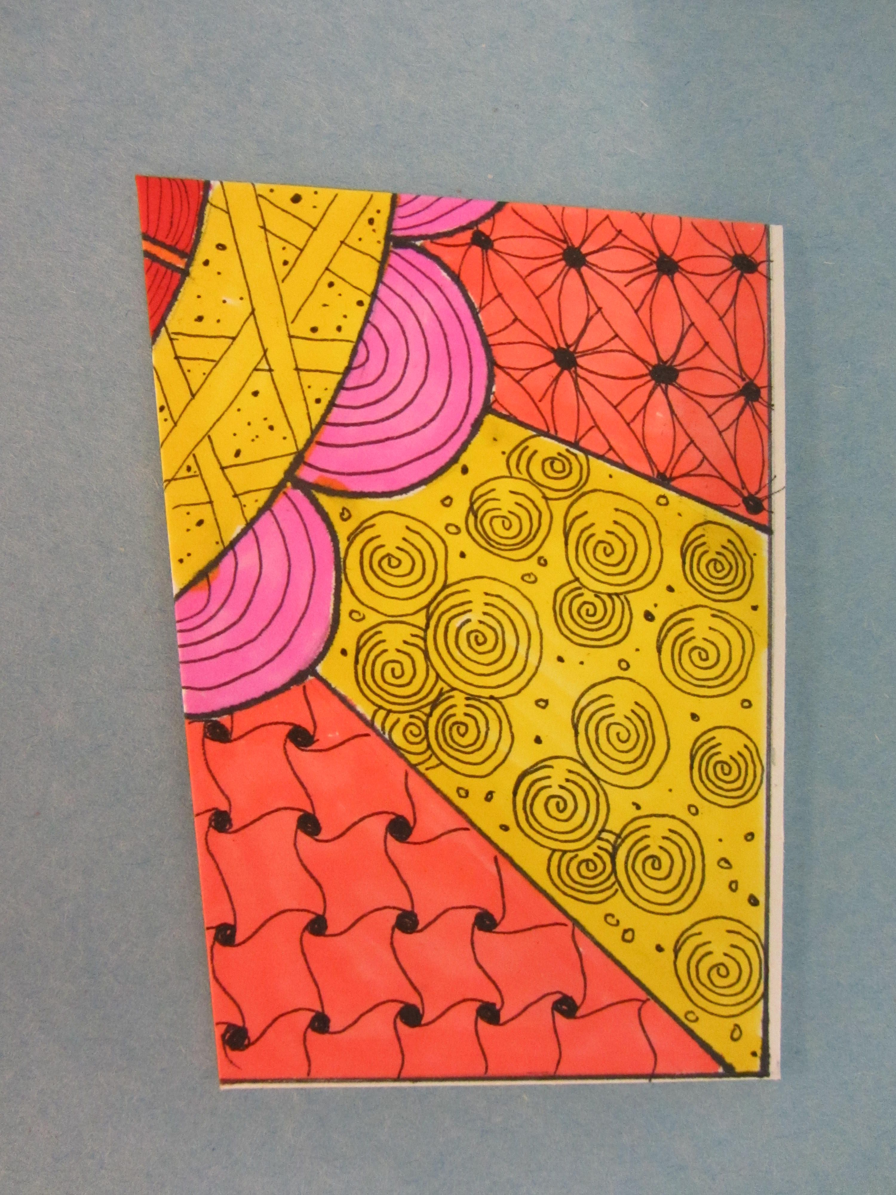 Zentangle puzzle piece by Nancy of Zen Drawing Club