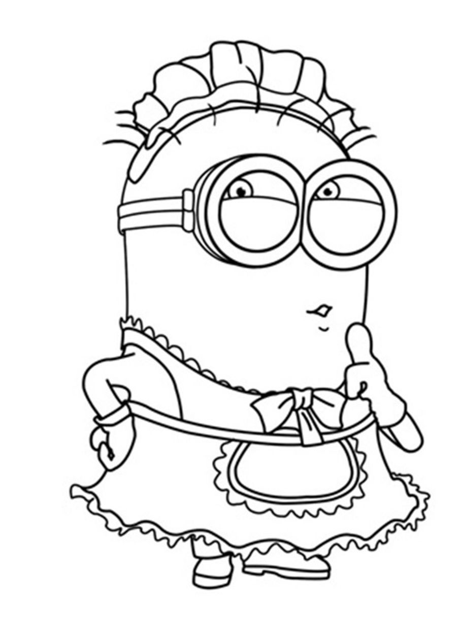 Minion maid coloring pages - Cartoon Coloring Despicable Me Coloring Pages Free Minion Despicable Me Coloring Pages Free Minionfull