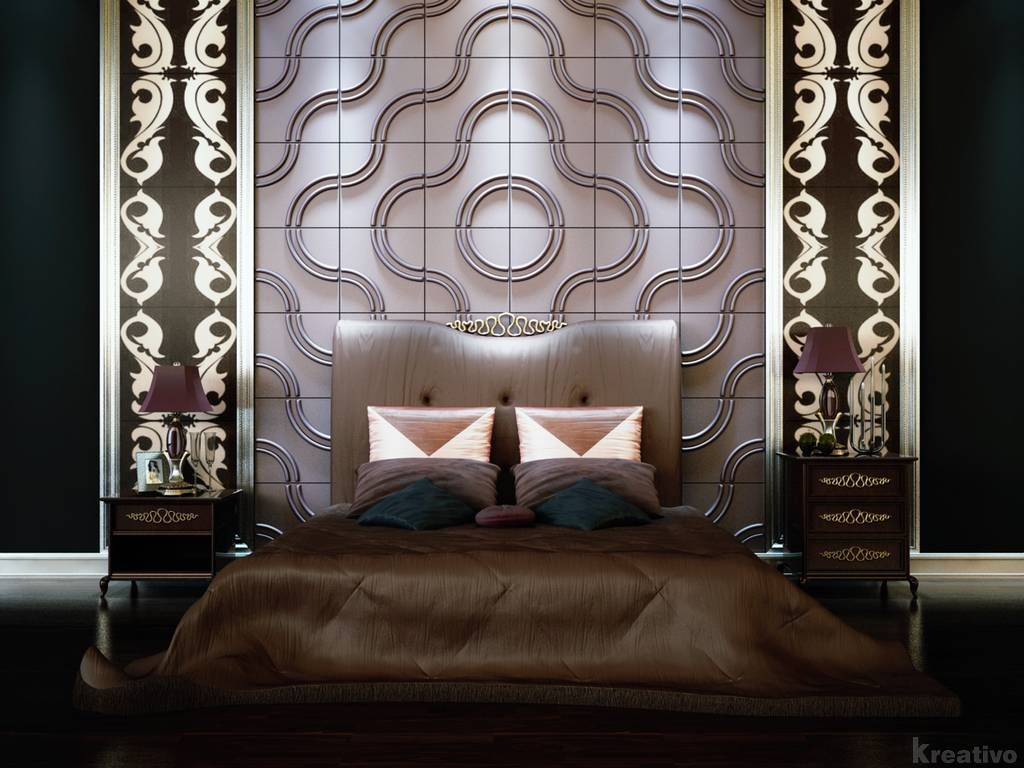Luxury and futuristic bedroom design ideas with 3d for Luxury 3d wallpaper