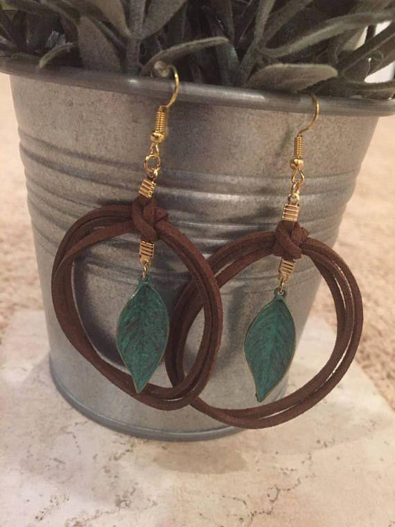 Photo of Leather Leaf Earrings Brown Bohemian w/Brass Verdigris Patina #diyjewelry #beade…