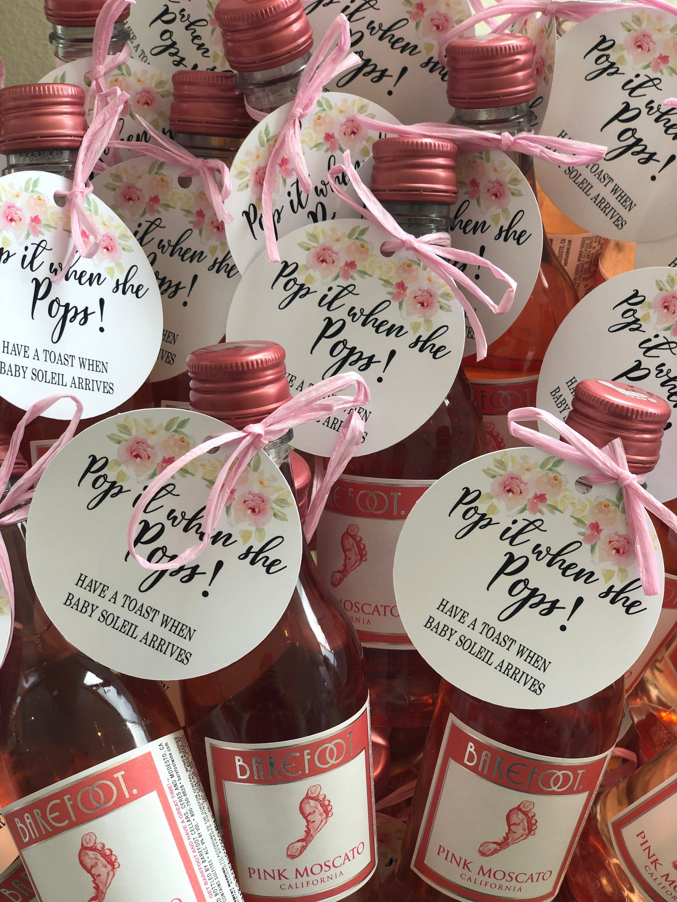 Pop it when she Pops personalized favor tags,Mini wine bottle tags,Personalized Baby Shower favor tags, Ready to ship: 1-3 business days