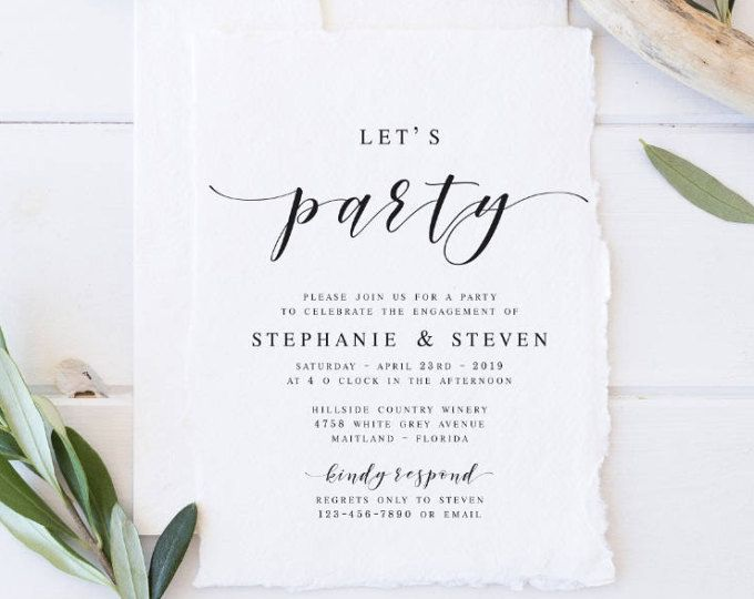 Let\'s Party Modern Engagement Party Invitation Template Engagement ...