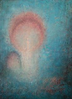 Mesteren 40x30 cm. Akryl på lerret m/ blandingsteknikk.  Bildet går i fargene: Lys beige, orange, rustrød, turkis, petrolblå, brun.