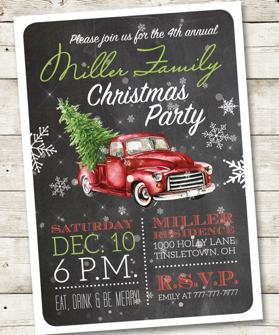 Retro Christmas Party Invitation, Retro Christmas Invitation