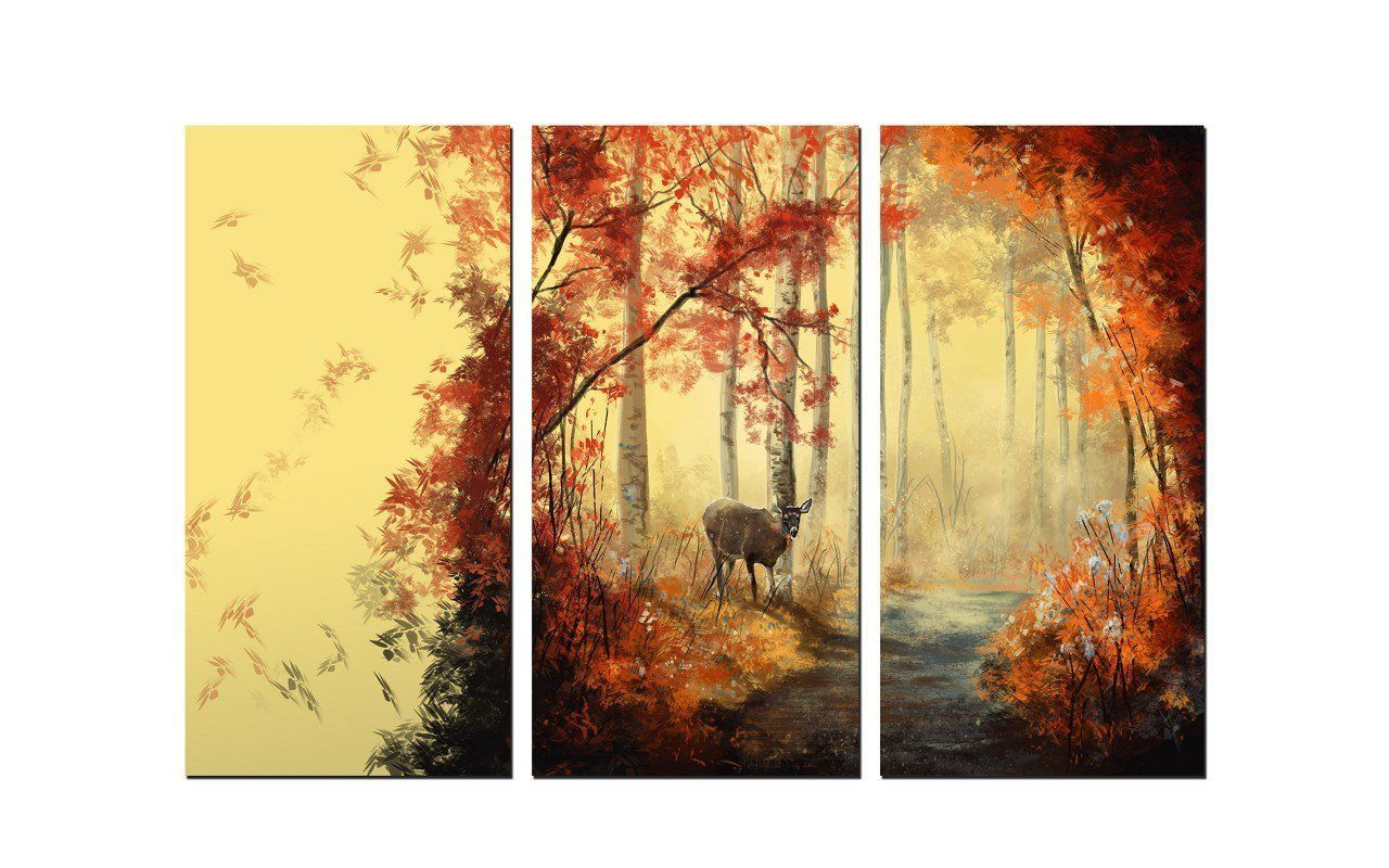Amazon.com: NAN Wind 3 Panel Wall Art Painting Deer In Autumn Forest ...