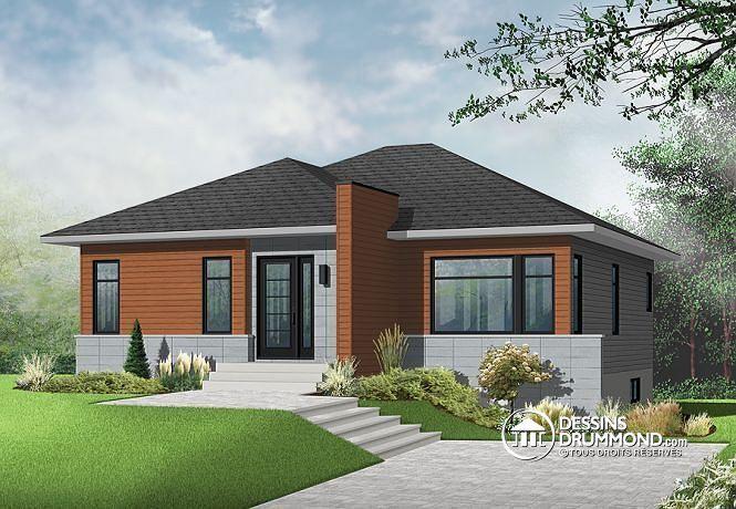 PLAN DE MAISON MODERNE TRÈS ABORDABLE Fenêtre abondante, bungalow - Modeles De Maisons Modernes
