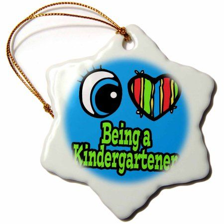 3dRose Bright Eye Heart I Love Being a Kindergartener, Snowflake Ornament, Porcelain, 3-inch