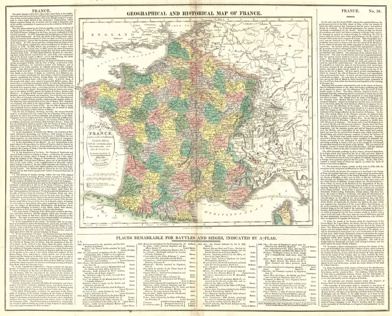 Geographical Map Of France.Map Antique Geographical And Statistical Map Of France A New Map