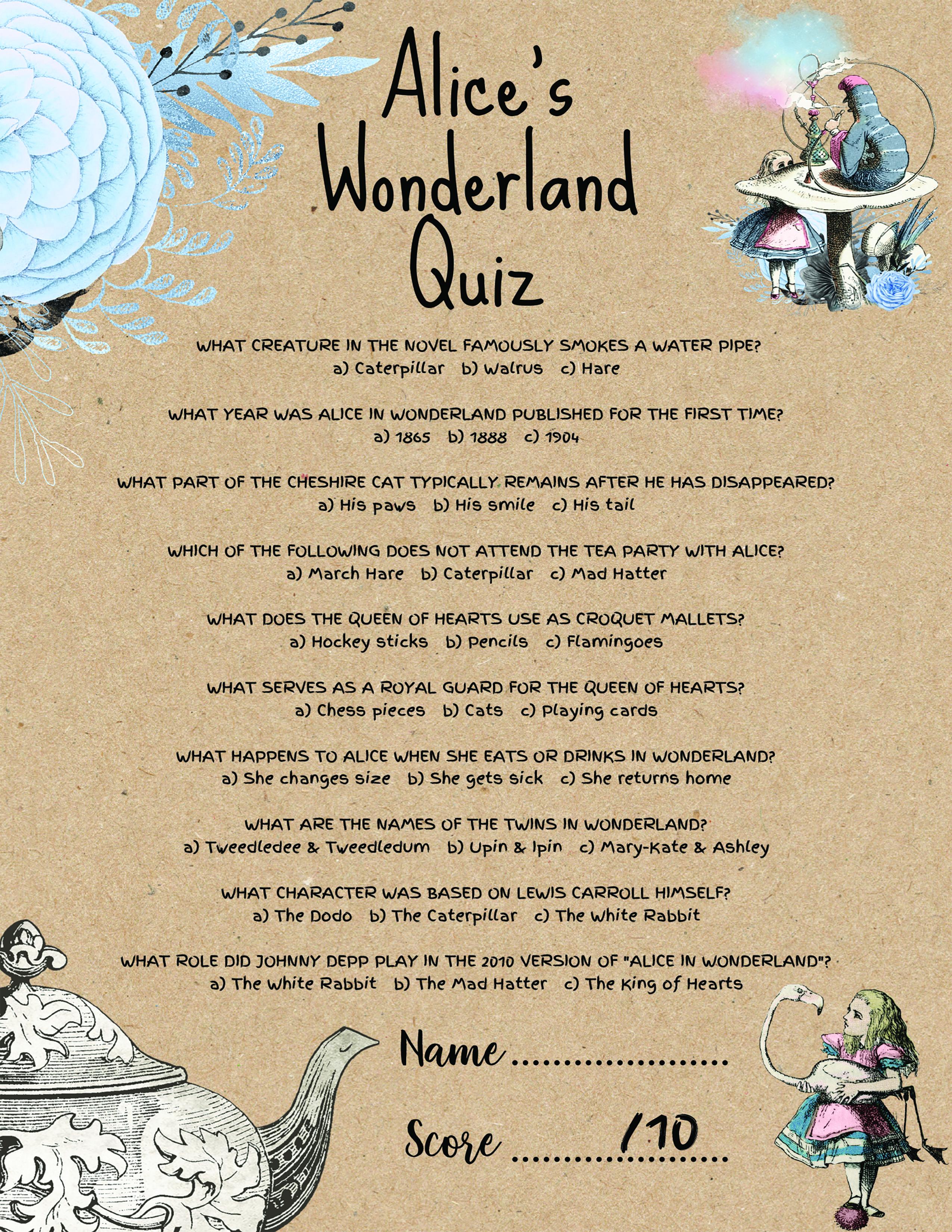 Wonderland Theme Bridal Shower Games Alice In Wonderland Etsy Wonderland Party Theme Alice In Wonderland Tea Party Alice In Wonderland Tea Party Birthday