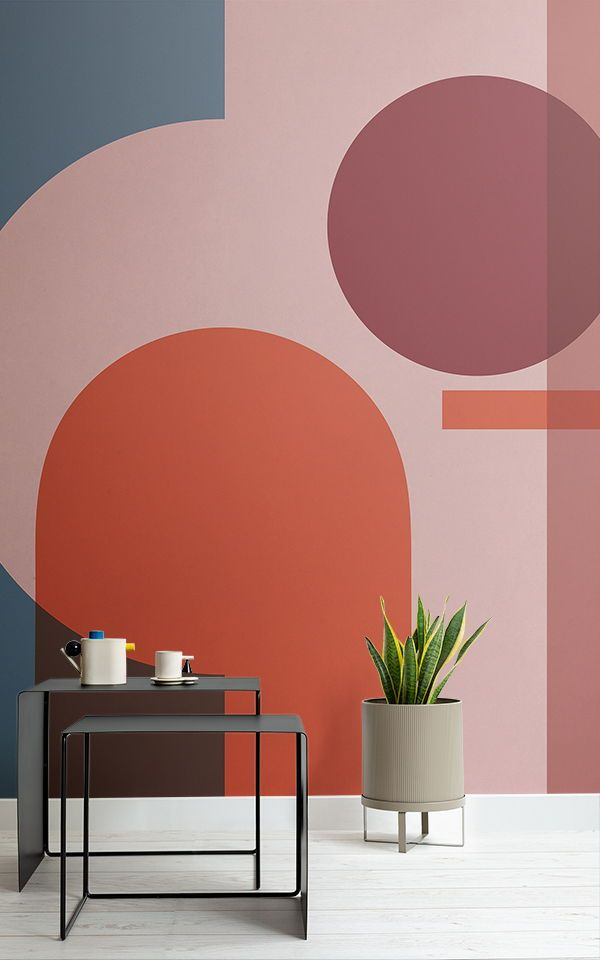 Colourful Geometric Shapes Modern Bauhaus Wallpaper Mural