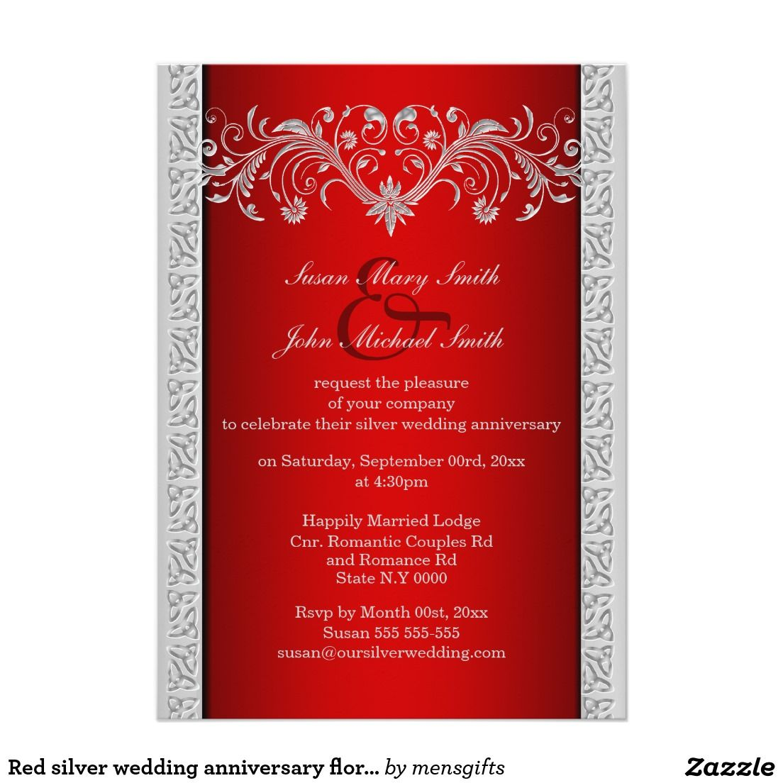 Red silver wedding anniversary floral invitation | Floral Wedding ...