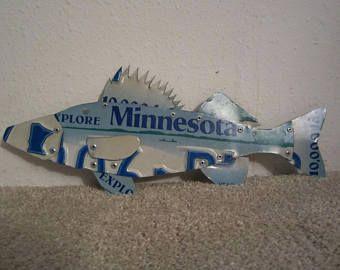 Walleye Fish Made from Minnesota License Plates Fishing