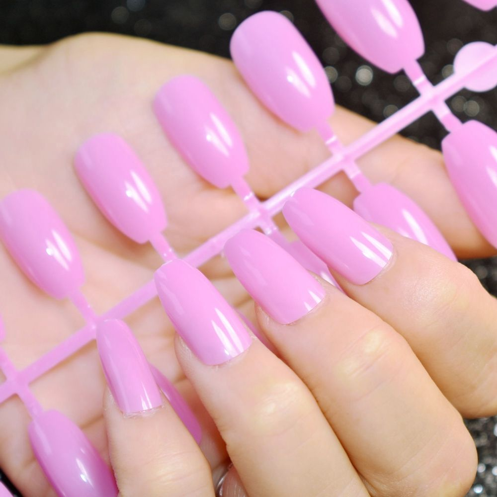 New Arrival False Coffin Nails Pure Light Purple Medium Size Candy ...