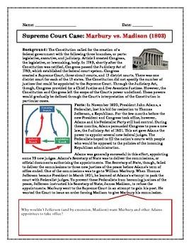 Supreme Court case Study: Marbury v. Madison | Supreme court ...