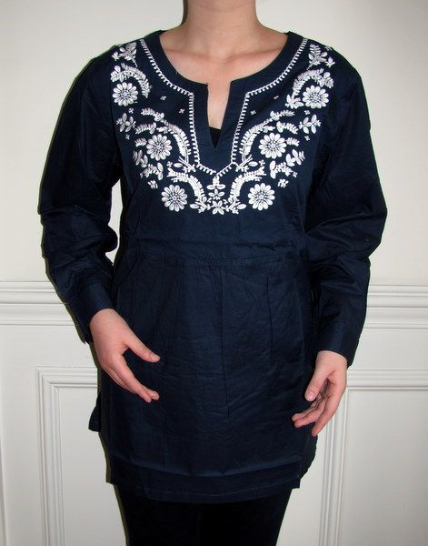 3ee529b9c06 Amazing Navy Embroidered Tunic all sizes S to 4X on sale.